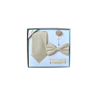 New men/'s pre-tied bowtie set solid 100/% polyester formal wedding prom Ivory