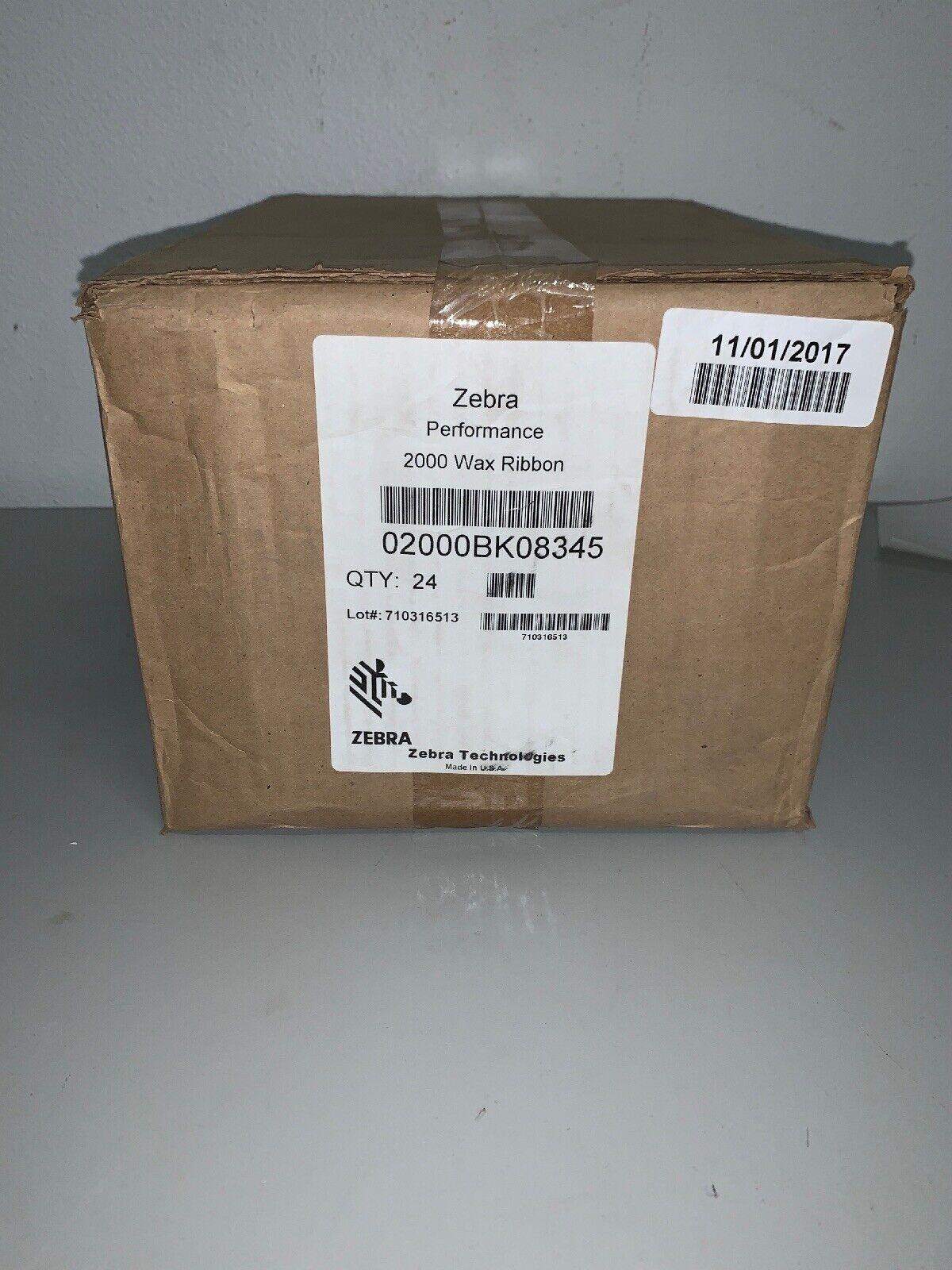 """ZEBRA 02000BK08345 PERFORMANCE 2000 WAX RIBBON 83mm X 450M 3.27/"""" x 1,476/'"""