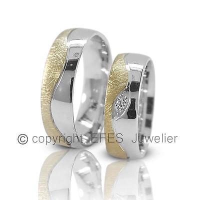Zwei Trauringe / Eheringe Aus 925 Silber Und Vergoldung - Mit Stein