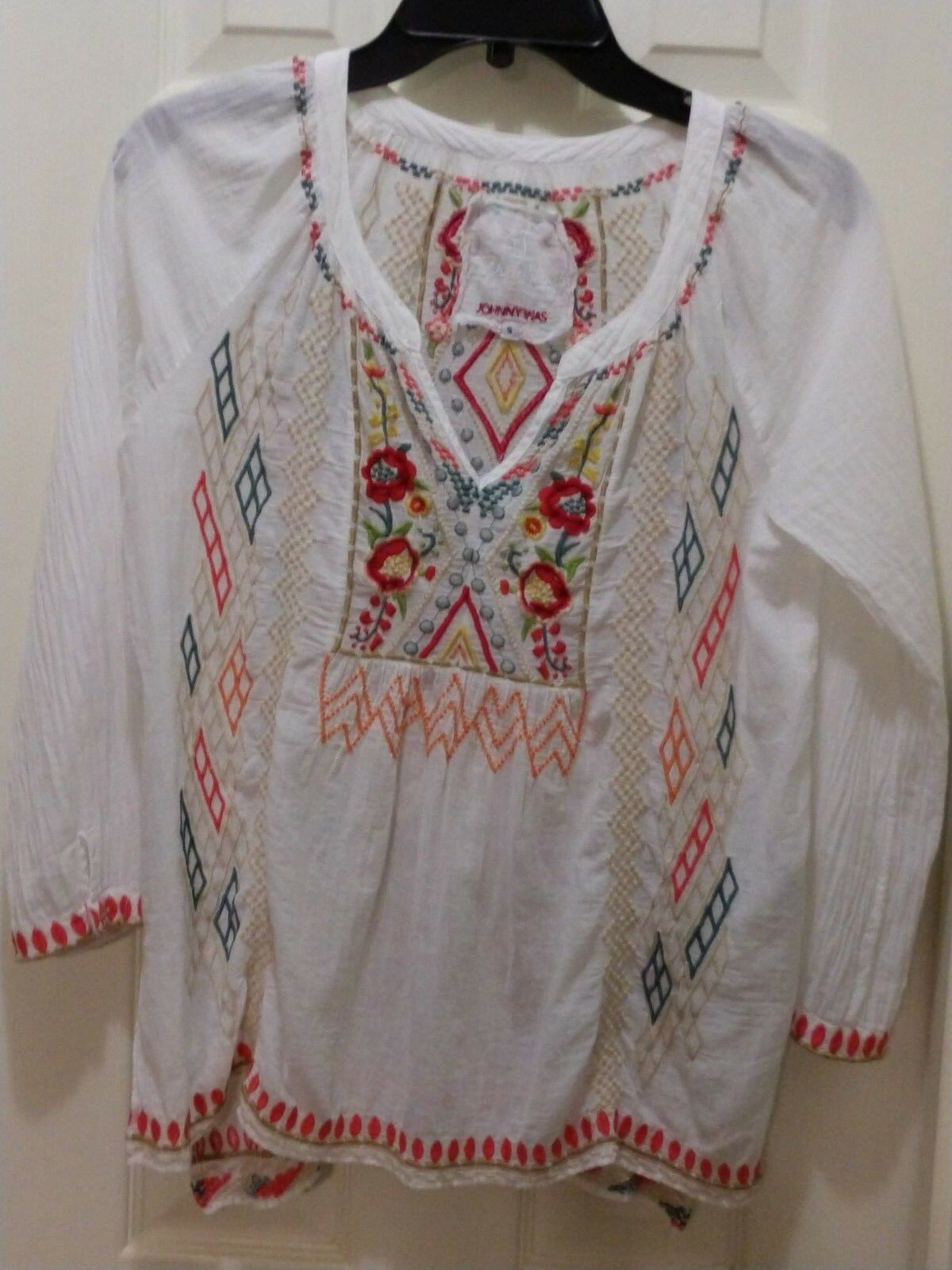 Johnny Was 3J Workshop Weiß Cotton Embroiderot Tunic Type Top Größe Small EUC