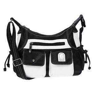 6d2d8c99f294d Das Bild wird geladen Damen-Tasche-Handtasche-Schultertasche-Umhaengetasche- Schwarz-Weiss-Handtasche