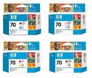 4-x-Druckkopf-HP-Designjet-Z2100-Z5200-Nr-70-C9404A-C9405A-C9406A-C9407A