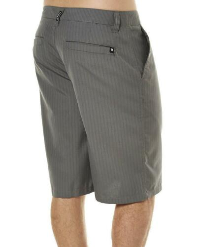 New Hurley Rivingston graphite gray stripe long walking shorts men size 32