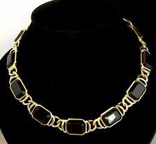 Stylised Rare Vintage Trifari Gold Tone Black Stone Necklace