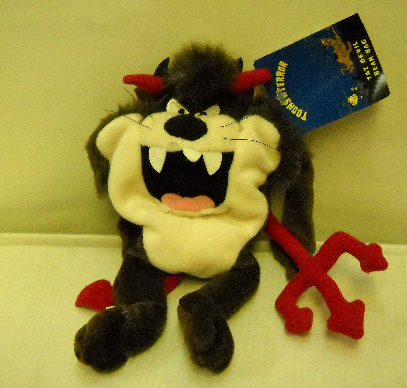 NWT RETIRED Warner Bros Store Toons of Terror Taz Taz Taz as Devil Bean Bag Plush a426cf