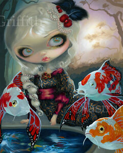 Jasmine-Becket-Griffith-art-BIG-print-SIGNED-Poissons-Volants-Le-Bassin-Carpes
