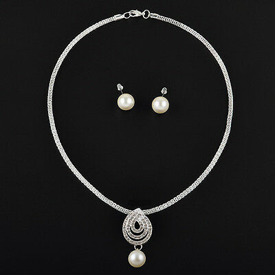 jewelry sets pearl Crystal white silver Noble Fashion New Necklace Earring Set