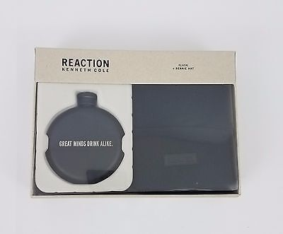 Kenneth Cole Reaction Men/'s Flask and Beanie Gift Set Black 41KC370001