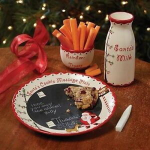 Details About Kids Christmas Eve Cookies For Santa Reindeer Plate Milk Holiday 3 Piece Set New