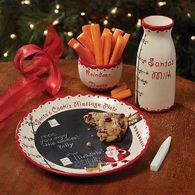 Kids Christmas Eve Cookies For Santa Reindeer Plate Milk Holiday 3 Piece Set New Ebay