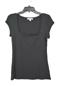 Chelsea 28 Womens Square Neck Black Short Sleeve Ribbed Stretch Top Blouse L