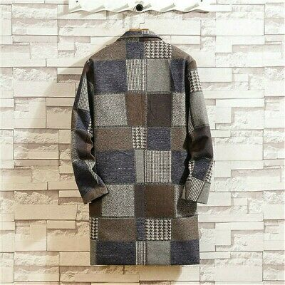 Mens Trench Coat Lapel Checked Jacket Plaid Tweed Overcoat Warm Winter Parka