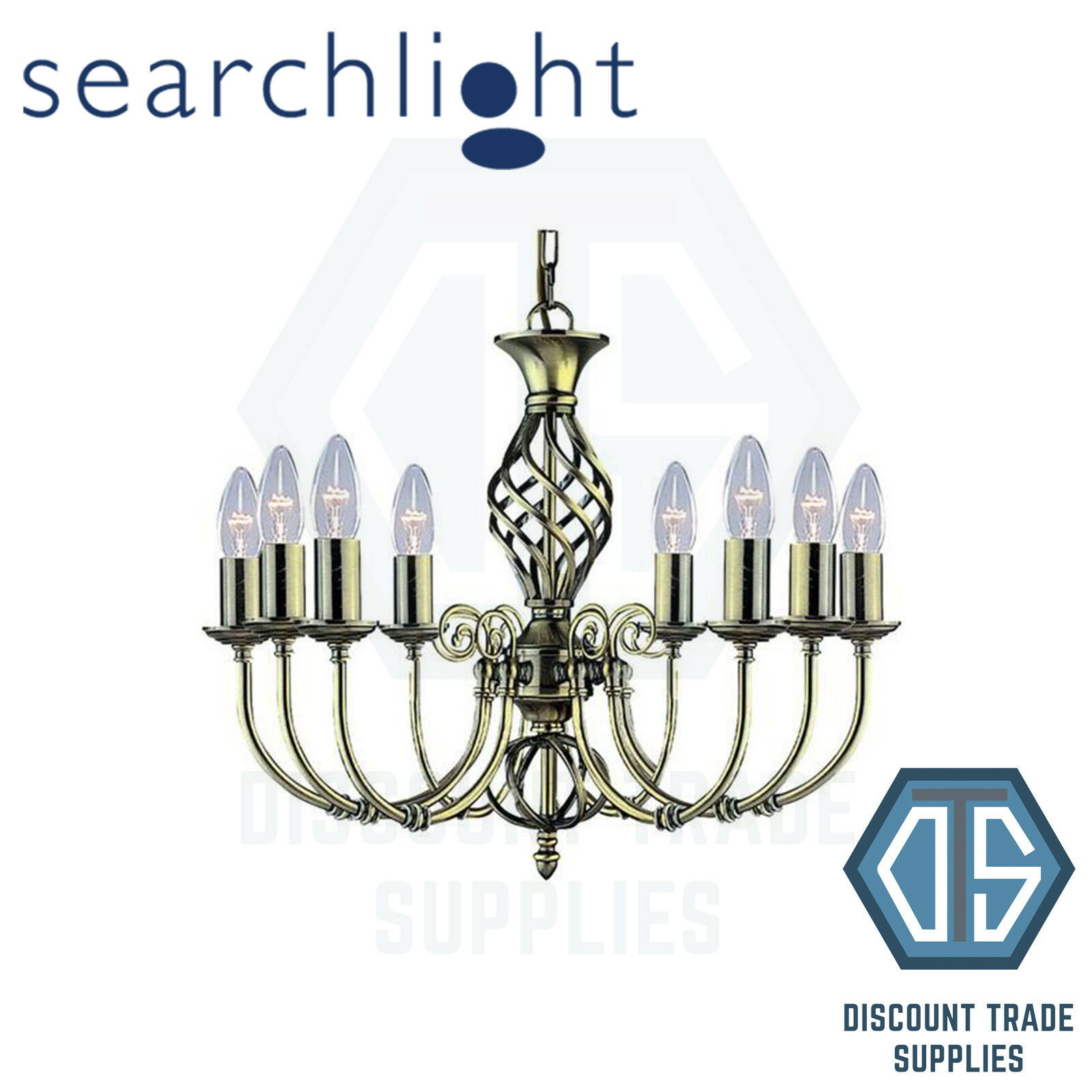 8398-8 SEARCHLIGHT ZANZIBAR ANTIQUE BRASS 8 LIGHT FITTING, TWISTED COLUMN
