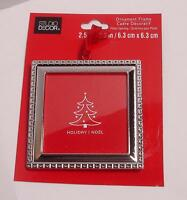 "Square Ornament Picture Frame Christmas Silver Color Fit Photo 2.5""w X2.5h"