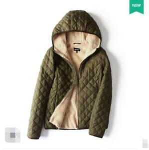 Hooded Casual Jacket Windproof Fleece Winter Coat Women's Polyester Warm Thicken qwC8Fpw