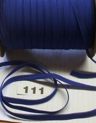 111 Azul Real PICOT BORDE 5m X 10mm recorte Elástico Suave Decorativos