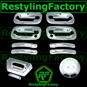 02-06-Chevy-Avalanche-Triple-Chrome-4-Door-Handle-PSG-Keyhole-Tailgate-Gas-Cover