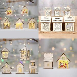 3-5x-Christmas-Wooden-LED-Light-Up-House-Chalet-Tree-Hanging-Ornament-Decoration
