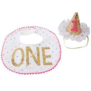 Mud Pie 1st Birthday Princess Baby Girls Bib Party Hat Clip Cake