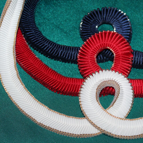 DIY Browband Supplies - 50cm x 16mm Pleated Satin Ribbon GOLD Edge 8 Colours!