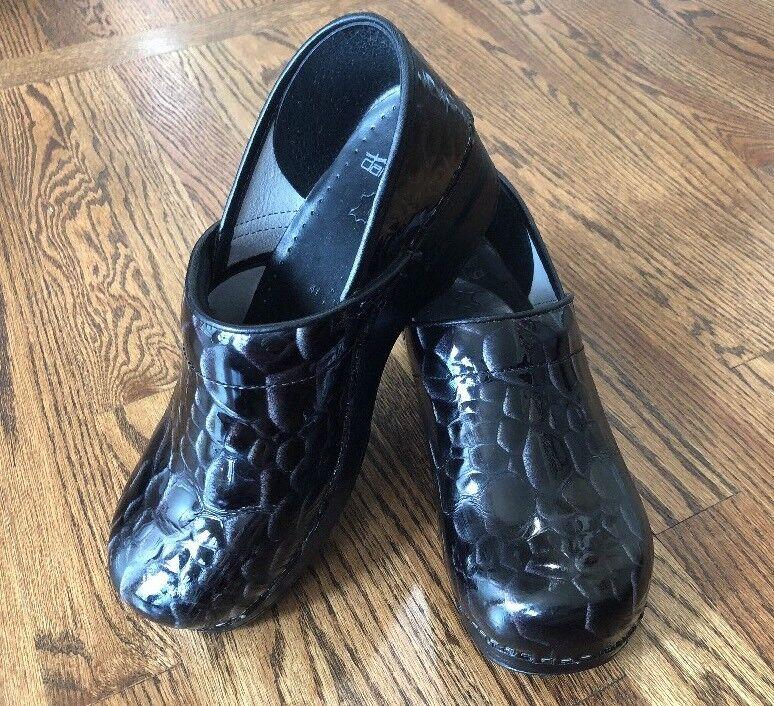 Dansko Women's Sz 41 US 10 Black Leather Leather Leather Reptile Look Clog Medical Nurse 358b3d