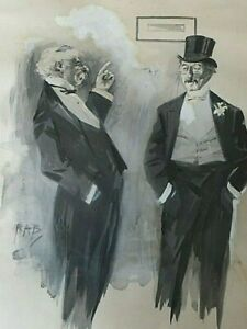 Antique-Old-Watercolour-Painting-CARICATURE-OF-TWO-GENTLEMEN-MEN-signed-RAB