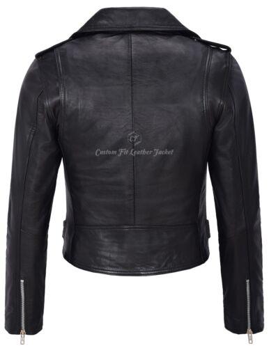 Ladies Biker Brando Length Classic Short Leather Style Mb130 Black Jacket wrC5BrgIq