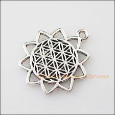 4Pcs Tibetan Silver Tone Sun Flower Charms Pendants Connectors 25x29mm