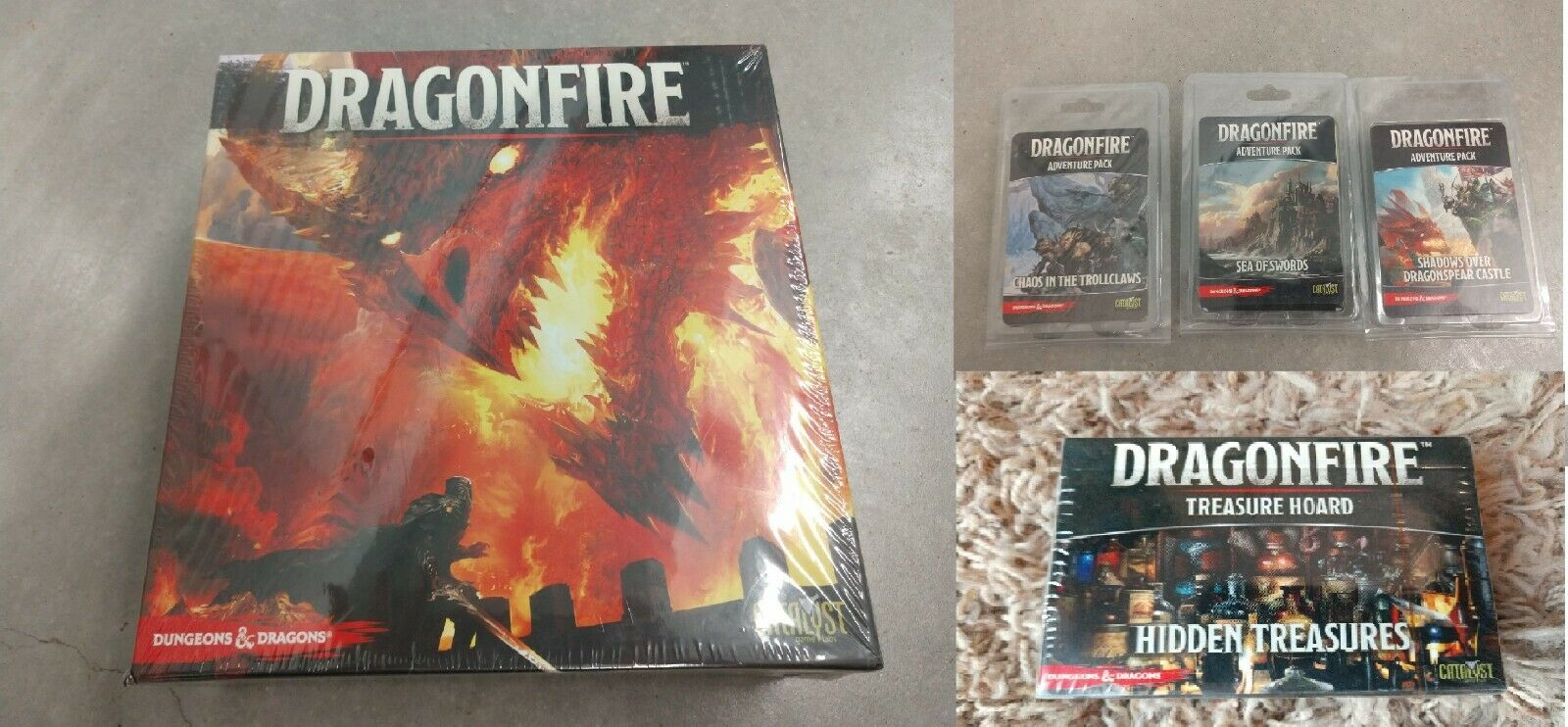 Dragonfire + Hidden Treasures + Expansions - NEW - Dungeons & Dragons Board Game