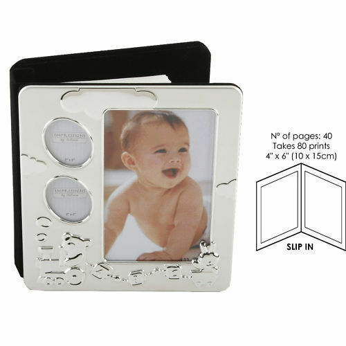 Personalised Baby Abc Silver Plated Photo Album 80 Photographs