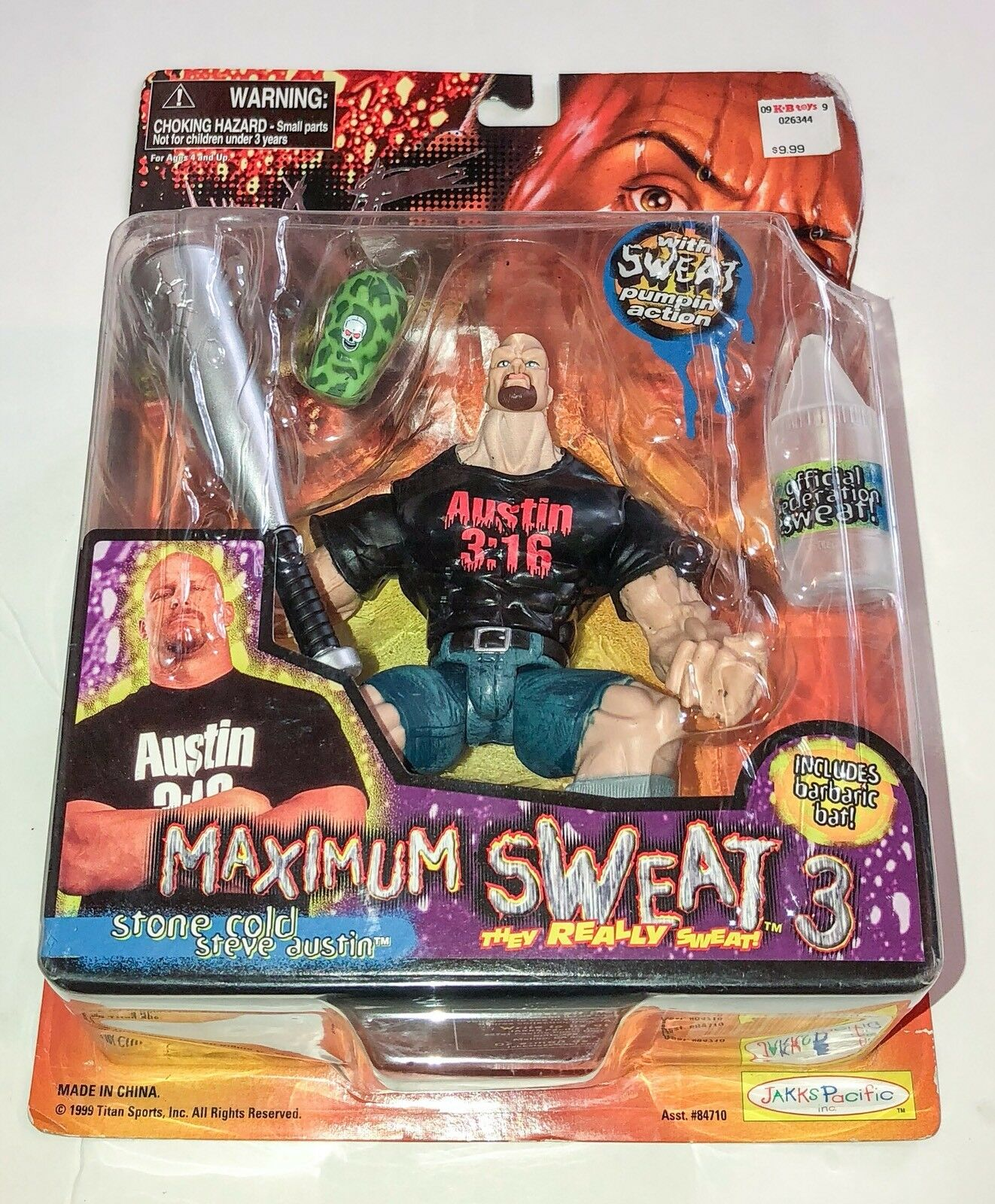 Stone Cold 3 16 Steve Austin MAXIMUM SWEAT SERIES 3 WWE WWF Wrestling Figure