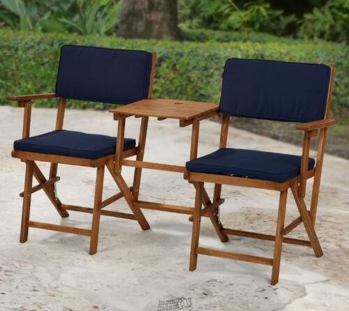 Outdoor Patio Seat Cushion Set Navy Blue Square 2 seats 2 back W ...
