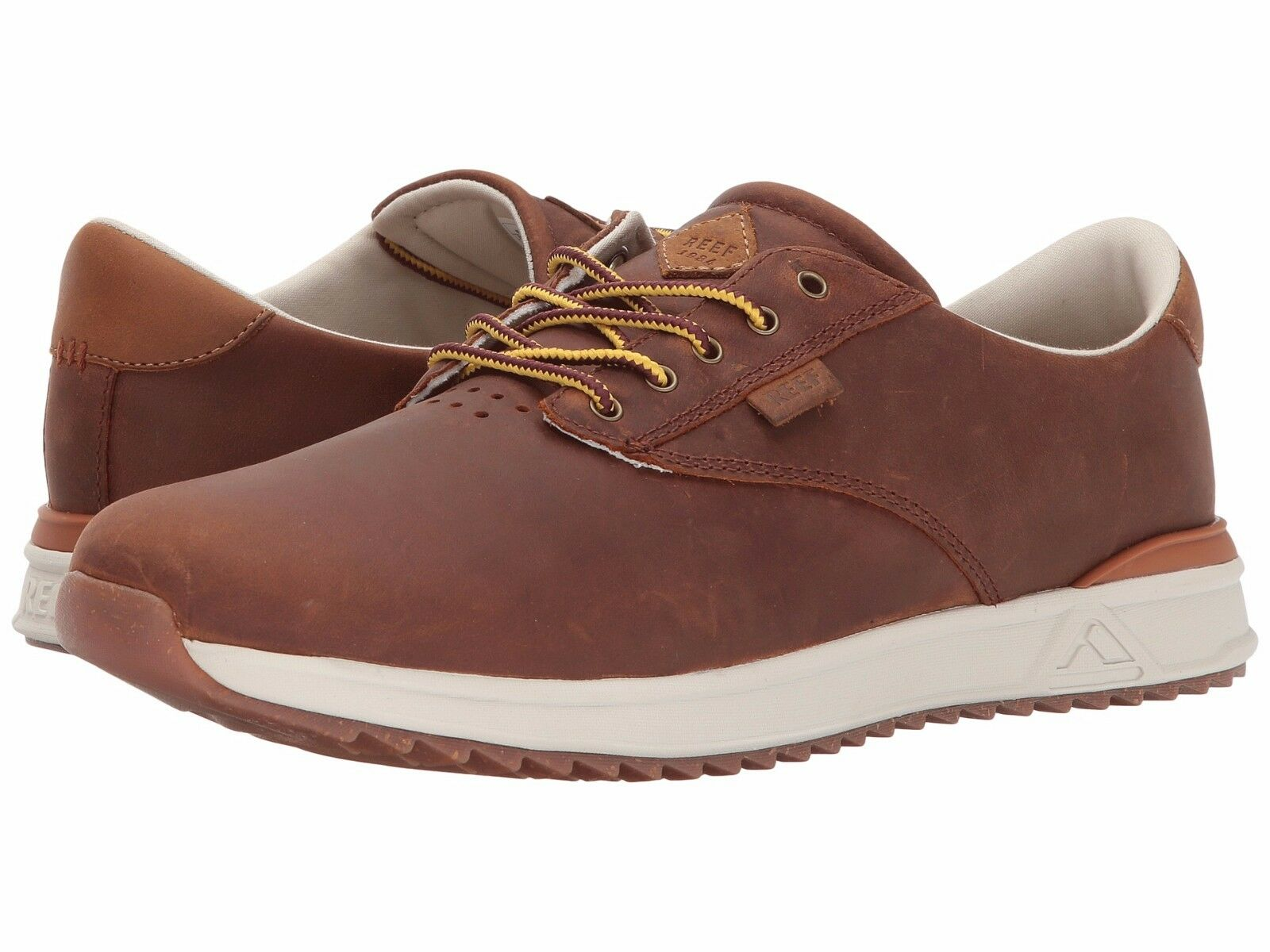 Men's shoes Reef Mission Leather Lace Up Fashion Sneaker RF0A363S Brown New