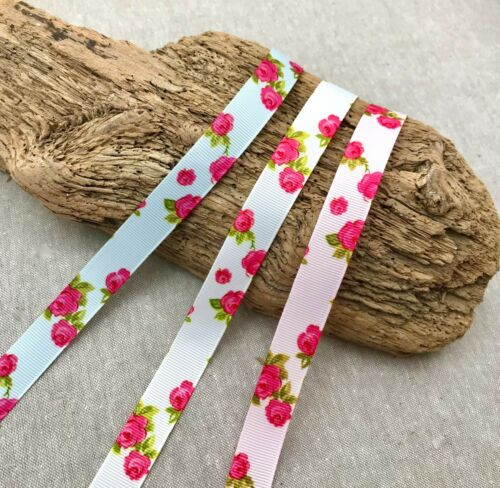 """5//8/"""" Rose Print Grosgrain-Pink Blue White-Country Crafts Pretty Rose Ribbon"""