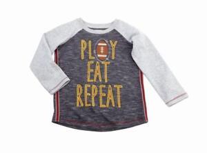 "Mud Pie Boys Thanksgiving Tees-/""Play Eat Repeat/"" Playing Football"