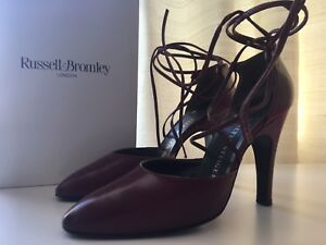 1830cecba9944 Details about Walter Steiger For Russell & Bromley Mahogany Ankle Tie  Heeled Shoes UK 6.5