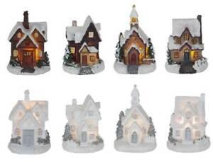 Led Weihnachtsdorf 12 Hauser Kirche Mehrfarbig O Weiss Glitzernd