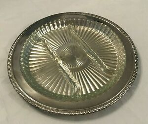 Vtg Kent Silversmith S 12 1 2 Round Silverplate Serving Tray W 4 Section Glass Ebay