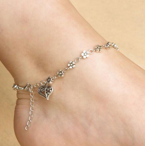 Tibetan Silver Tone Flowers Love Heart Ankle Bracelet Chain Foot Hot Anklet New