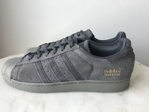 separation shoes b38c9 93ede Details about New Adidas Superstar Shoes Grey Suede Size US 11.5