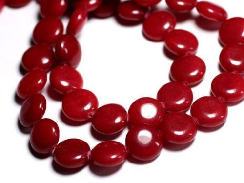 Jade Rouge Palets 14mm Perles de Pierre Fil 39cm 27pc env