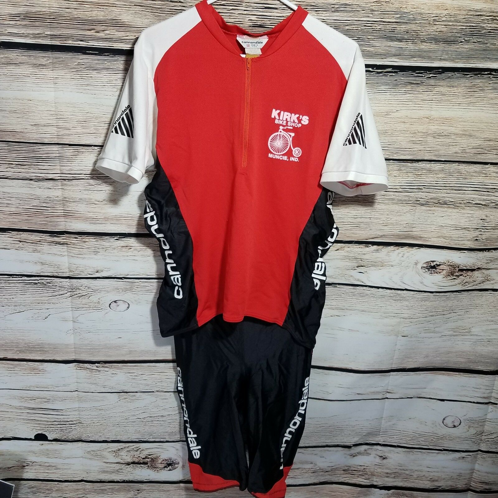 Vintage Cannondale 2 Piece  Cycling Outfit Size XL Jersey Shorts Padded Red Zip  cheap and top quality