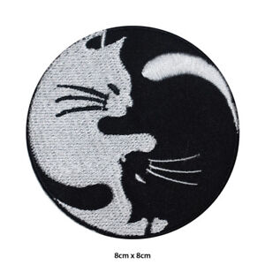 YIN YANG Cats Embroidered Patch Iron on Sew On Badge For Clothes Bags etc