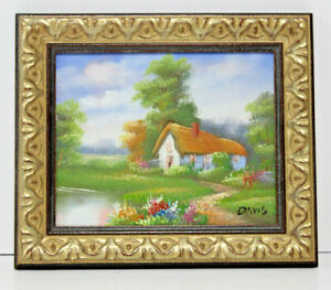 Cottage-by-Lake-Landscape-8-x-10-Art-Oil-Painting-on-Canvas-w-Custom-Wood-Frame