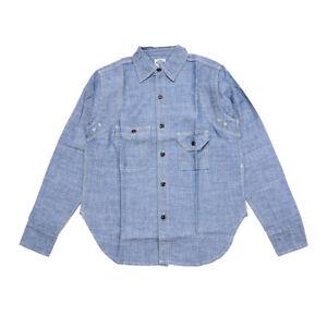 NON-STOCK-Vintage-Chambray-Shirts-Blue-Men-039-s-Casual-Denim-Workshrits