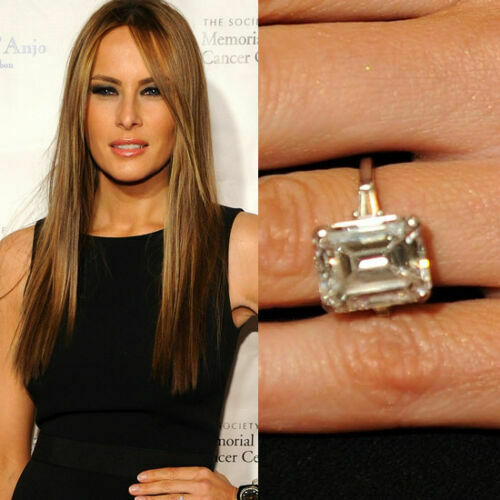 10 Ct Melania Knauss Trump inspired Engagement Ring White Emerald Cut Diamond