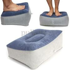 Inflatable Travel Home Leg Up Foot Rest Footrest Pillow Recliner Cushion Blue