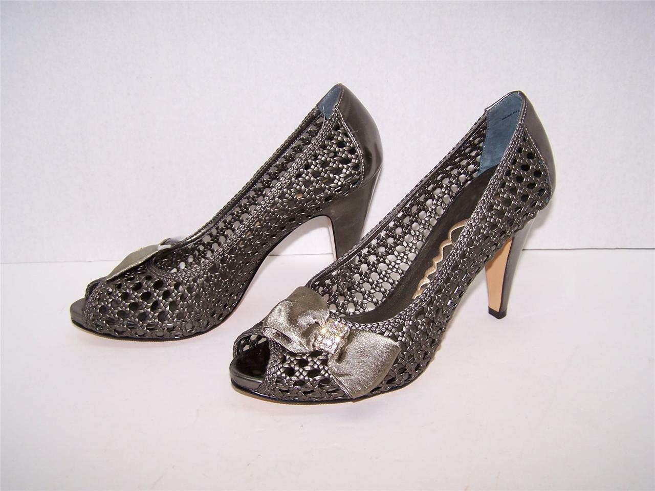 Nina New Pewter Leather Weave Rhinestone Open Toe Heels Evening Dress Shoes 8