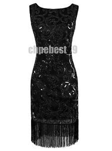 Women's 1920s Flapper Dress V Neck Beaded Sequin Gatsby Dress Cocktail Evening