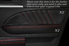 Rojo Stitch 2x Frontal Puerta Tarjeta Trim cubiertas de cuero se adapta a Alfa Romeo 159 05-12
